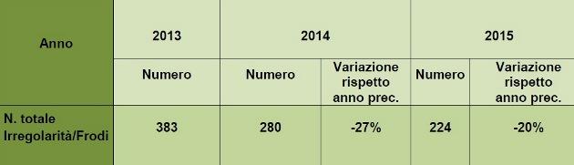 Relazione 2015 - Italia%2C numero irregolarità
