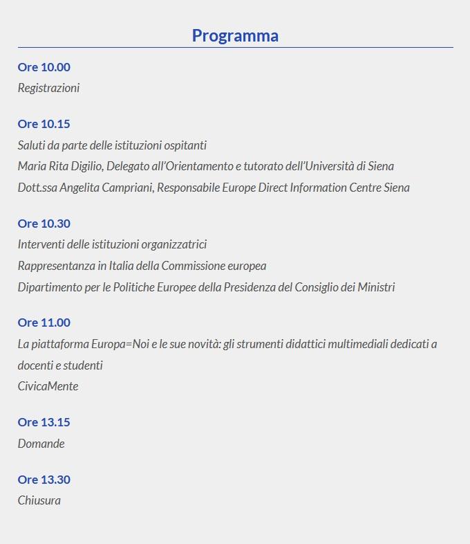 Programma dell'incontro a Siena